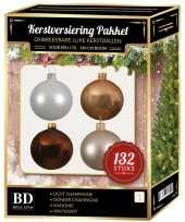Champagne wit parel mahoniebruine kerstballen pakket 132 delig voor 180 cm boom
