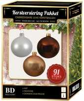 Champagne witte bruine kerstballen pakket 91 delig voor 150 cm boom