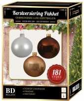 Donker champagne witte bruine kerstballen pakket 181 delig voor 210 cm boom