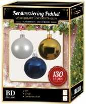 Gouden witte donkerblauwe kerstballen pakket 130 delig voor 180 cm boom