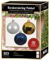 Gouden witte donkerblauwe kerstballen pakket 91 delig voor 150 cm boom