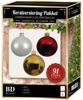 Gouden witte kerstrode kerstballen pakket 91 delig voor 150 cm boom