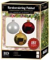 Gouden witte rode kerstballen pakket 181 delig voor 210 cm boom