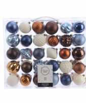 Kerst kerstballen mix 60 delig blauw koper bruin en wit