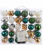 Kerst kerstballen mix 60 delig groen goud zilver en wit