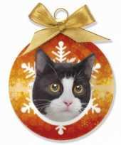 Kerstbal kat zwart wit 8 cm