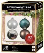 Kerstballen pakket 153 delig complete kerstballen set wit bruin blauw zilver180 cm boom