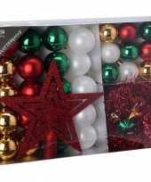 Kerstboomdecoratie 33 delig rood goud groen