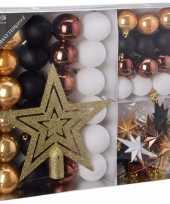 Kerstboomdecoratie 45 delig goud zwart brons en wit