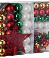 Kerstboomdecoratie 45 delig rood goud groen