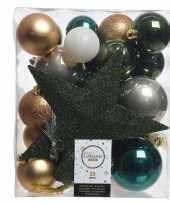 Luxe kerstballen pakket piek dennen groen goud wit kunststof 33 stuks