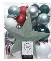 Luxe kerstballen pakket piek dennen groen zilver wit kunststof 33 stuks