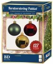 Rood groen goud wit kerstversiering pakket 127 delig voor 180 cm boom