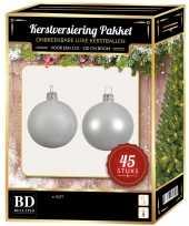 Winter witte kerstballen pakket 45 delig voor 120 cm boom