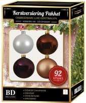 Wit beige bruin paars kerstballen pakket 92 delig voor 150 cm boom
