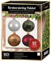 Wit beige rood groen kerstballen pakket 92 delig voor 150 cm boom