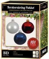 Wit blauw rood kerstversiering voor 150 cm boom 101 delig