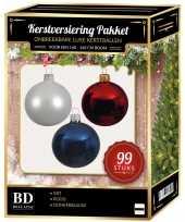 Wit blauw rood kerstversiering voor 150 cm boom 99 delig