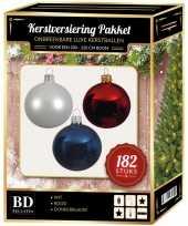 Wit blauw rood kerstversiering voor 210 cm boom 182 delig