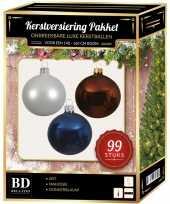 Wit bruin donkerblauw kerstversiering voor 150 cm boom 99 delig