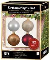 Wit champagne beige rood kerstballen pakket 92 delig voor 150 cm boom