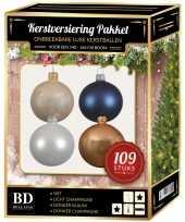 Wit champagne donkerblauw kerstversiering voor 150 cm boom 109 delig