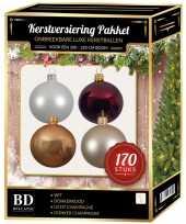 Wit champagne donkerrode kerstballen pakket 170 delig voor 210 cm boom