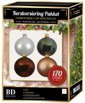 Wit donker champagne mahonie den kerstballen pakket 170 delig voor 210 cm boom