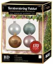Wit donker champagne mintgroen lichtroze kerstballen pakket 170 delig voor 210 cm boom