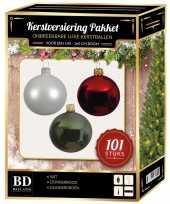 Wit donkergroen donkerrood kerstversiering voor 150 cm boom 101 delig