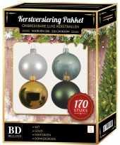 Wit goud donkergroen mintgroen kerstballen pakket 170 delig voor 210 cm boom