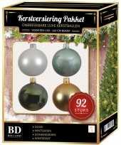Wit goud groen mint kerstballen pakket 92 delig voor 150 cm boom