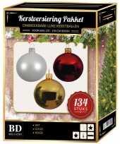 Wit goud rood kerstversiering voor 180 cm boom 134 delig