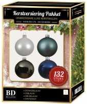 Wit grijs ijsblauw donkerblauwe kerstballen pakket 132 delig voor 180 cm boom