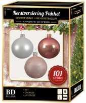 Wit oud roze lichtroze kerstversiering voor 150 cm boom 101 delig