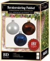 Witte bruine blauwe kerstballen pakket 181 delig voor 210 cm boom
