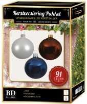 Witte bruine donkerblauwe kerstballen pakket 91 delig voor 150 cm boom