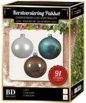 Witte bruine ijsblauwe kerstballen pakket 91 delig voor 150 cm boom 10157042