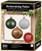 Witte donker champagne donkergroene kerstballen pakket 170 delig voor 210 cm boom