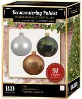 Witte donker champagne donkergroene kerstballen pakket 91 delig voor 150 cm boom