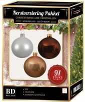 Witte donker champagne mahonie bruine kerstballen pakket 91 delig voor 150 cm boom