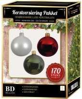 Witte donkerrode donkergroene kerstballen pakket 170 delig voor 210 cm boom