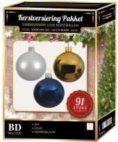 Witte gouden donkerblauwe kerstballen pakket 91 delig voor 150 cm boom