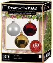 Witte gouden kerst rode kerstballen pakket 170 delig voor 210 cm boom