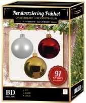 Witte gouden kerst rode kerstballen pakket 91 delig voor 150 cm boom