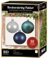 Witte ijsblauwe donkerblauwe kerstballen pakket 91 delig voor 150 cm boom 10158745