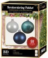 Witte ijsblauwe donkerblauwe kerstballen pakket 91 delig voor 150 cm boom