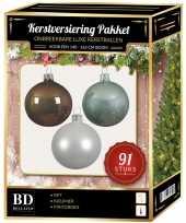 Witte kasjmier bruine mintgroene kerstballen pakket 91 delig voor 150 cm boom