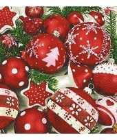 Witte kerst servetten met kerstballen 20 stuks