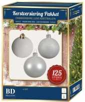 Witte kerstballen pakket 125 delig voor 210 cm boom